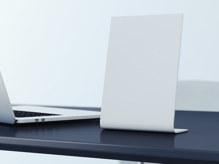threefold: Blank banner on the black office table. 3d rendering