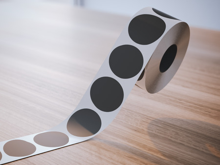 wooden circle: Silver tape with black circle stickers on the wooden table. 3d rendering