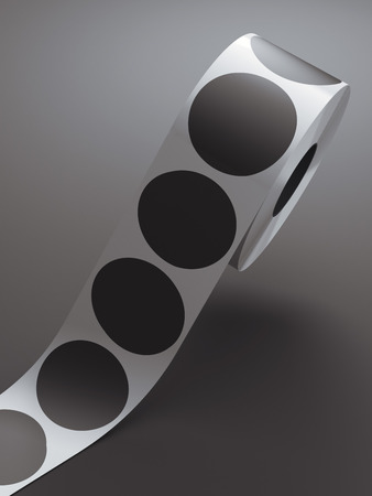 Silver tape with white circle stickers in gray studio. 3d rendering Stok Fotoğraf