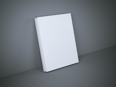 book case: White book with cover box in gray studio. 3d rendering