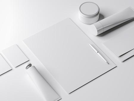 papier a lettre: Branding maquette avec un tube de peinture en studio lumineux. rendu 3d