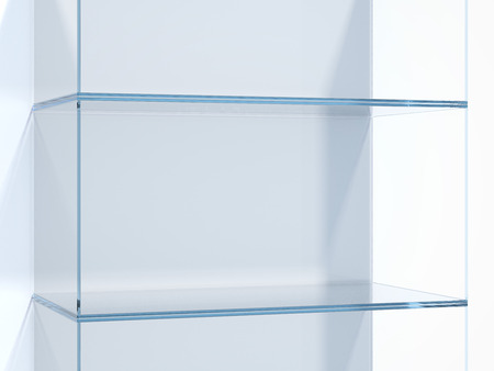 Glass shelves in white studio. 3d rendering Stock Photo