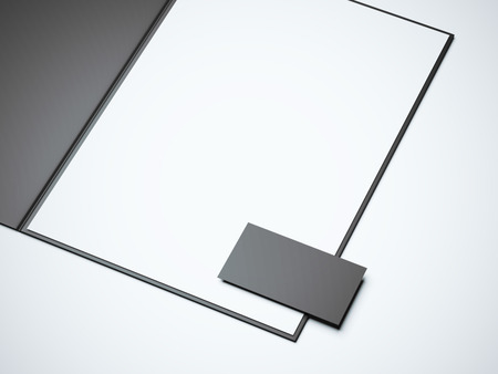 blank business card: Black opened folder with blank white sheet and business card. 3d rendering
