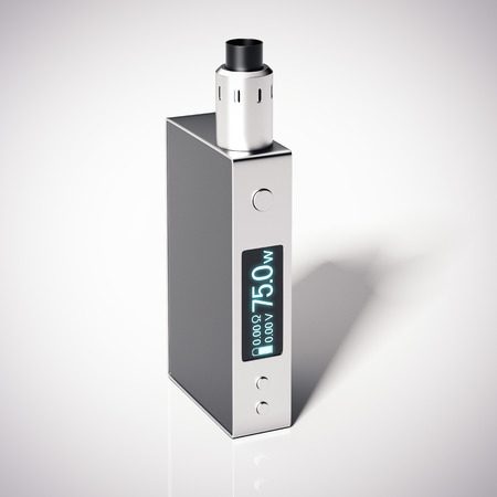 atomizer: Box mod e-cigarette with metal rebuildable dripping atomizer. 3d rendering Stock Photo