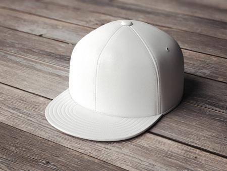 Witte lege snapback op de houten vloer. 3D-rendering