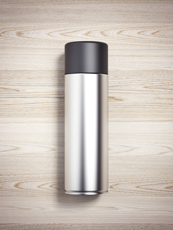 spray paint can: Silver spray can on the wooden table. 3d rendering Stock Photo