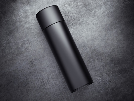 spray can: Black spray can on the concrete floor. 3d rendering