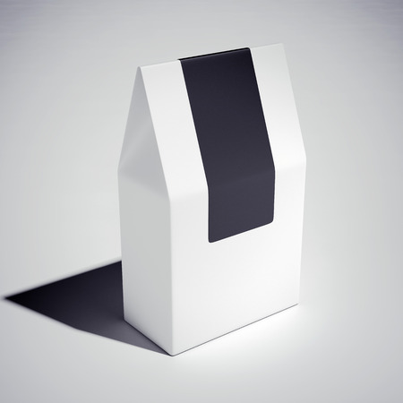 packaging box: White cardboard carry box with black sticker. 3d rendering Stock Photo