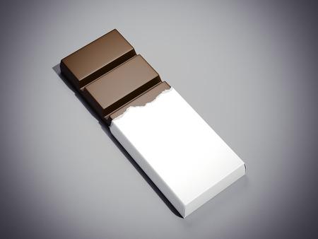 wraps: Barra de chocolate en blanco envoltorio blanco. Las 3D