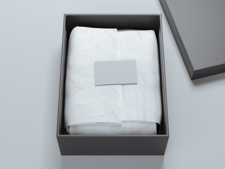 Box with wrapping paper and blank business card. 3d rendering