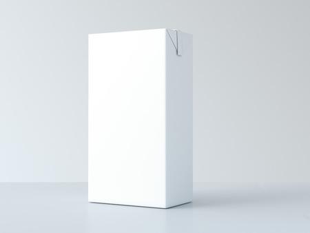 Witte lege melk pakket op tafel. 3D-rendering Stockfoto