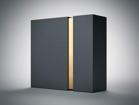 ホワイト スタジオの内部ゴールド ストライプ ブラック ボックス。3 d レンダリング 写真素材