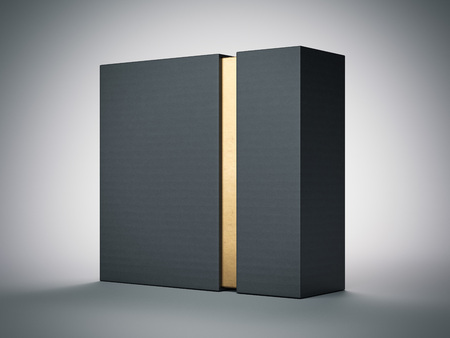 Black box with gold stripe inside in white studio. 3d rendering
