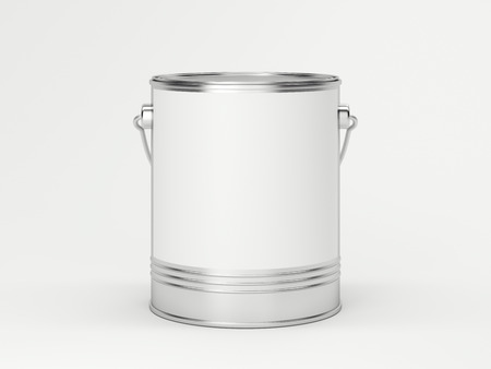 redecorating: White paint can in bright studio. 3d rendering