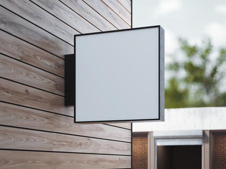 木製の壁に白い正方形の看板。3 d レンダリング