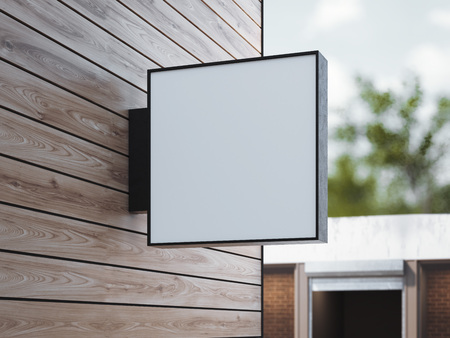 White square signboard on the wooden wall. 3d rendering
