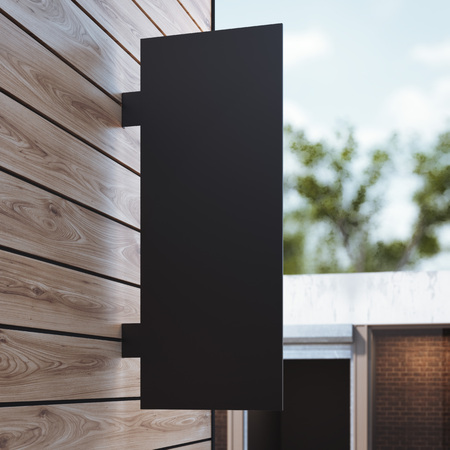 mocked: Black signboard on the wooden wall. 3d rendering