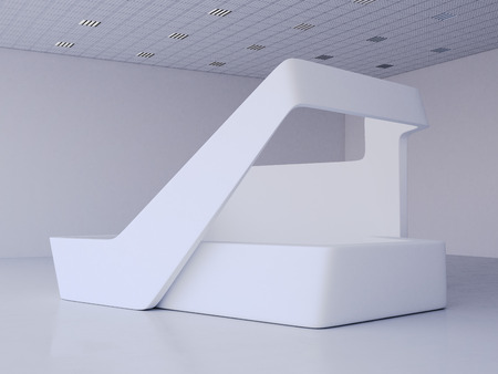 Moderne weiße Ausstellung in hellen Saal stehen. 3D-Rendering