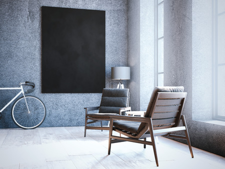 Modern loft interior with chairs and blank frame on the wall. 3d rendering