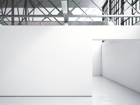 galería interior loft luminoso con paredes blancas. Las 3D