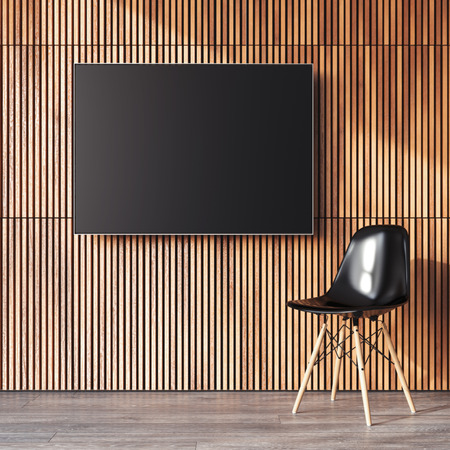 empty office: Modern interior with canvas on the wooden wall and chair. 3d rendering Stock Photo