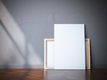 Due tele bianche sul pavimento in legno in interni moderni. Rendering 3D Archivio Fotografico - 62488535