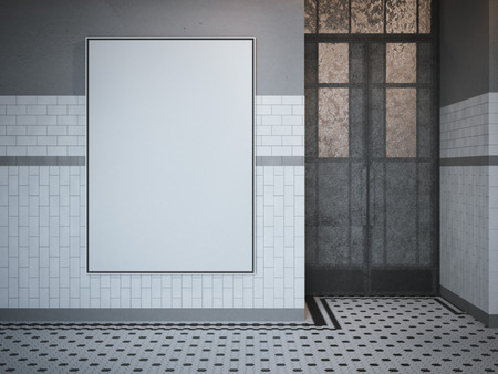 stationary: Blank white billboard on the cafe wall. 3d rendering