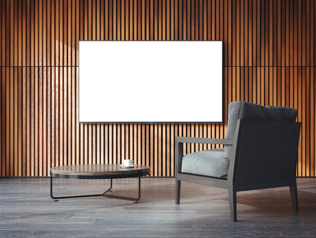 white canvas: White canvas on the wooden wall with chair. 3d rendering