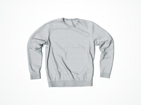 tela blanca: sudadera con capucha gris en blanco en el estudio blanco. Las 3D