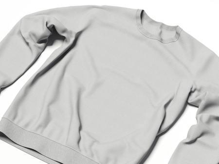 hooded top: Gray hoody in bright white studio. 3d rendering
