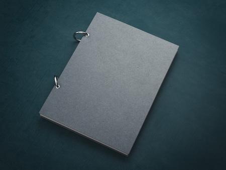 workbook: Gray notebook on the green dark floor. 3d rendering