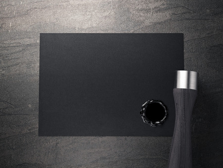 seal wax: Black business card with seal wax and blank stamp on stone floor. 3d rendering