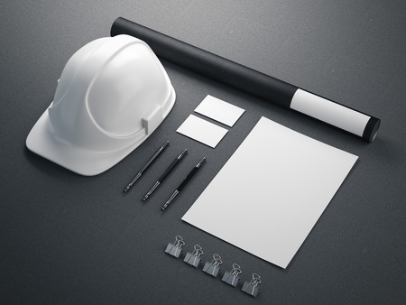 Modernes Branding Mockup mit weißem Helm. 3D-Rendering Standard-Bild