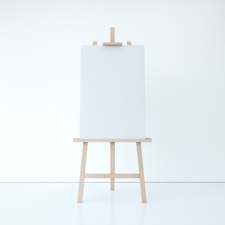 Wooden easel with empty white canvas in bright interior. 3d rendering