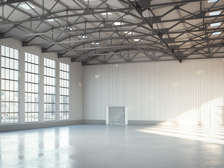 Empty building bright hangar interior with large windows. 3d rendering Stock Photo
