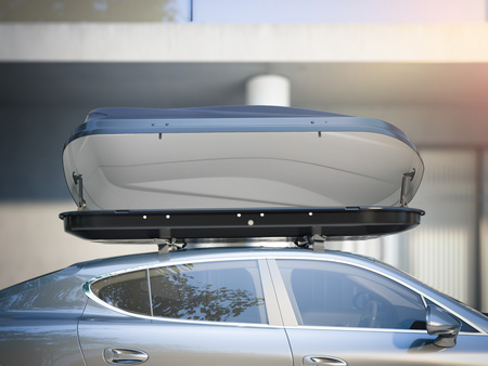 Modern car for traveling with a roof rack. 3d rendering