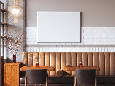 벽에 빈 캔버스와 함께 밝은 레스토랑 인테리어. 3 차원 렌더링 스톡 콘텐츠 - 62488626