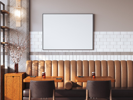 Bright restaurant interior with blank canvas on a wall. 3d rendering