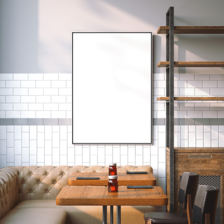 Bright restaurant interior with white canvas on a wall. 3d rendering
