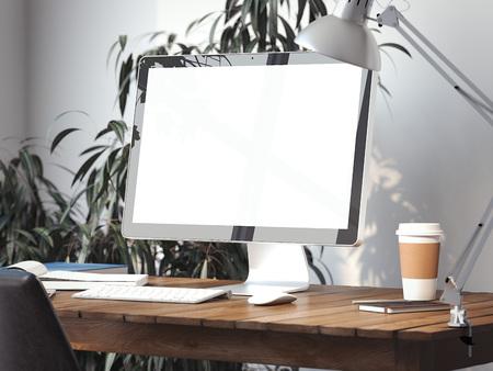 Werkruimte met een leeg scherm op een tafel. 3D-rendering