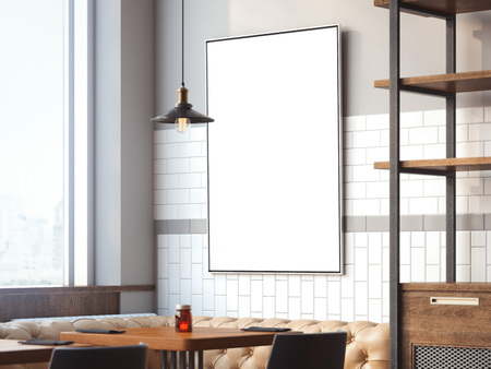 Bright restaurant interior with white canvas on a wall with lamp. 3d rendering Banco de Imagens