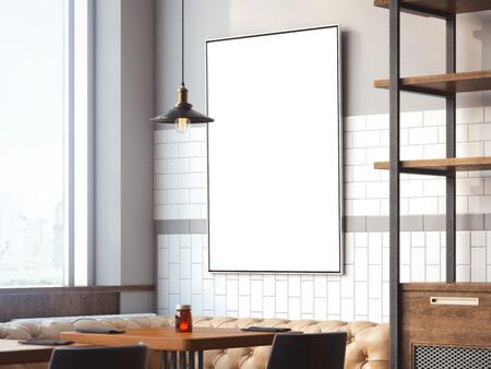 Lichte interieur van het restaurant met witte doek op een muur met een lamp. 3D-rendering