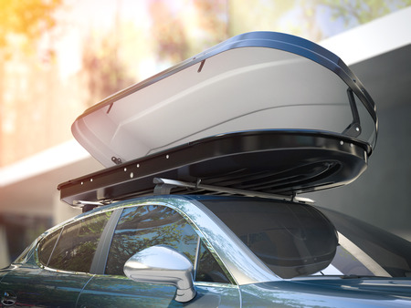 Opened roof rack and modern silver car in bright day. 3d rendering