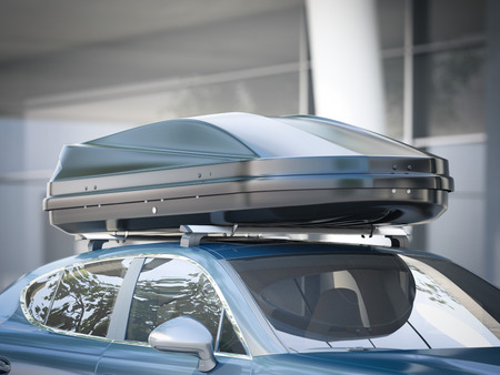 Modern silver car for traveling with a roof rack. 3d rendering