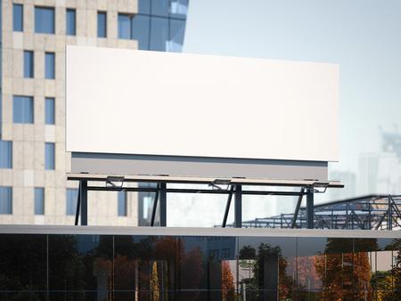 billboard: Blank billboard standing on a office building. 3d rendering