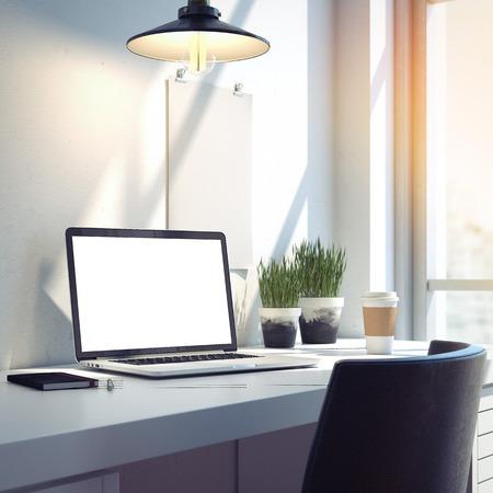 책상은 현대 노트북 작업 공간. 3d 렌더링