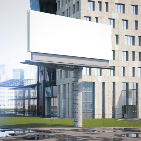 center city: Large billboard in the city near office building. 3d rendering Stock Photo