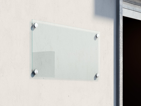 mocked: Empty glass signboard on the bright wall . 3d renderign Stock Photo