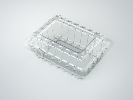 food package: Plastic food package on white floor. 3d rendering