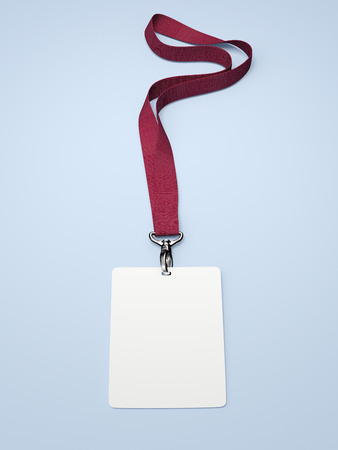 Blank badge with neckband and red tape. 3d rendering